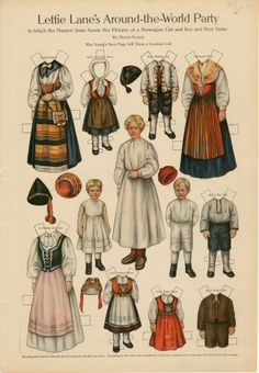 Lettie Lane's Around-the-World Party: Norwegian Girl and Boy and Their Nurse | paper doll