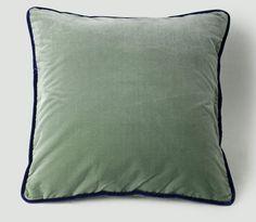 Eucalyptus silk velvet cushion with Empire Blue piping   de Gournay