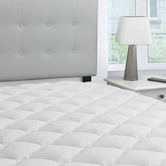 eLuxurySupply Bamboo Extra Thick Mattress Pad with Fitted Skirt – Extra Plush Cooling Topper – Hypoallergenic – Proudly Made in The USA – Brians Bedding