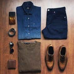 Outfit grid - Denim shirt