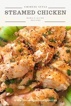This steamed chicken (chinese style) is a classic recipe that is very easy to make. Simple, tasty and delicious meal that you can cook for lunch or dinner. The secret ingredient is always love and you're family will always savour any dish you cook. Happy cooking! Healthy Chicken Recipes, Asian Recipes, Chinese Recipes, Turkey Recipes, Healthy Meals, Steam Chicken Recipe, How To Steam Chicken, Bamboo Steamer Recipes, Steamed Chicken