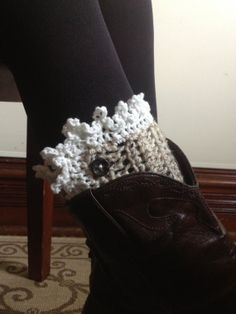 Lace Trimmed Crochet Boot Cuff with Buttons