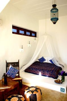 Moroccan inspired beach house. Take a look at www.bringingitallbackhome.co.uk for crafts and textiles from Indian, Africa and the Orient
