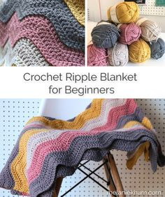 Learn how to make this easy crochet ripple blanket pattern featuring free written instructions and a video tutorial. This crochet blanket is good for beginners too! # how to crochet for beginners blanket easy crochet ripple blanket pattern Beginner Crochet Projects, Easy Knitting Projects, Crochet For Beginners Blanket, Free Crochet Patterns For Beginners, Diy Crochet For Beginners, Knitting Beginners, Beginner Crochet Tutorial, Crochet Ripple Blanket, Afghan Crochet Patterns