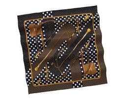 HERMES Blue & Brown 'Clic-Clac a Pois' Vintage Silk Twill Scarf, 70cm