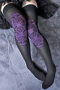 Victorian Patterned Knee-Socks, Love the lace panel inset in plain stockings. I'm considering doing something like this on the back of the calf on knee-high or thigh-high stockings. Corsets, Argyle Socks, Thigh High Socks, Thigh Highs, Stocking Tights, Black Socks, Gothic Outfits, Gothic Dress, Purple