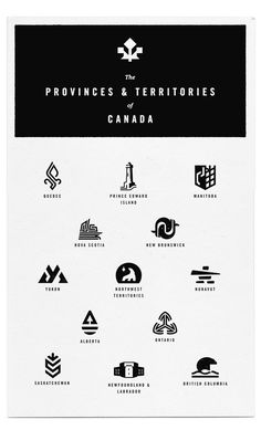 a logo for each of the provinces and territories of canada designed in the style of mid-century corporate logos | by mike haddad.