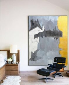 Hand painted abstract painting on canvas, large vertical Contemporary Art #SK8B from CZ Art Design.