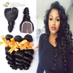 Brazilian Loose Wave Hair 3 Bundles With  Closure Rosa 7A Unprocessed Virgin Hair Cheap Human Hair weaves with lace closure