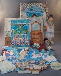 Vintage 1970s The Ginghams paper doll and playset Carrie's Bedroom. I had several of these paper dolls...they were my favorite paper dolls! I still have them somewhere!