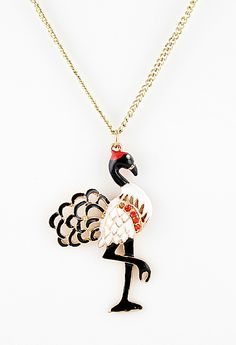 Gold Crystal Ostrich Necklace