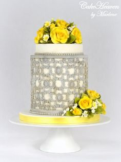 Yellow Roses Wedding Anniversary Cake by CakeHeaven by Marlene - http://cakesdecor.com/cakes/290662-yellow-roses-wedding-anniversary-cake