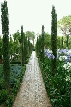 Co Co's Collection : Formal garden # structure # roses # boxwood. Patterned walkways are punctuated by Italian Cypress