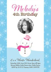 Winter themed photo invitation featuring a snowman