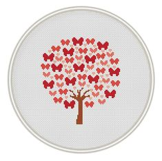 Counted cross stitch pattern, Instant Download, Free shipping, Cross-Stitch PDF, Cross stitch tree, Butterfly tree