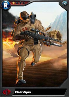 Flak Viper Evolution Line Flak Viper Fallout Fan Art, Gi Joe Characters, Cobra Art, Wwe Sasha Banks, Cobra Commander, Top Trumps, Gi Joe Cobra, Deathstroke