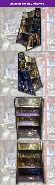 """Batman Display Shelves. Graduated 4 shelf scenic Play and Display Case. Unit Dimensions: 35"""" High, 23"""" Wide, 17"""" Deep on bottom, 6"""" Deep on top. Shelves are 9"""" apart and are 16', 10"""", 6' and 4' deep bottom to top. Providing play area and display for all size objects. Makes a great atmosphere for playing with all type of Batman and related action figures.See Bruce Wayne's Manor with the Bat Cave below and the city of Gotham above. Brings your toys and collectibles to life with realistic..."""