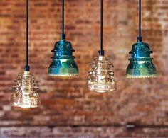 Vintage Glass Insulator lights