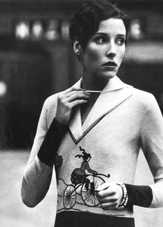 Her hair! Her sweater! ❤ | Vogue Italia, April 1974
