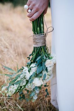 Bouquet tied with twine, lovely for a casual wedding in the country. Country Wedding Inspiration, May Days, Casual Wedding, Twine, Weddingideas, Photo Credit, Bouquet, Hearts, Table Decorations