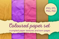Coloured paper set Graphics **Coloured paper set**Crumpled, craft, pastel (watercolor) paper textures and illustration of the by Anastasia_Koba