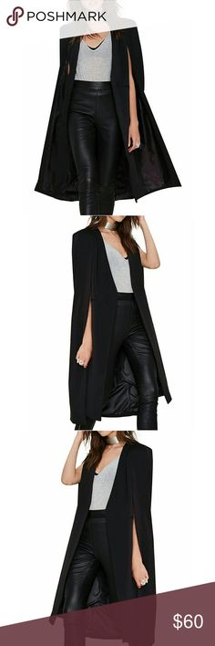 Chic black long cape blazer - trench coat Fabric:90%Polyester,10% Spandex Lightweight Nice for the Spring Unique Features:This Elegant Cloak is Satin Lined,Cape Design means it overlaps and covers your shoulders giving a flowy effect and exposes your arms, open front with no buttons   ➡➡➡➡Size:inch:  S:Length--38.58--Bust--34.64  M:Length--39.37--Bust--36.22  L:Length--40.15--Bust--37.79  XL:Length--40.94--Bust--39.37  XXL:Length--41.73--Bust--40.9 Jackets & Coats Blazers