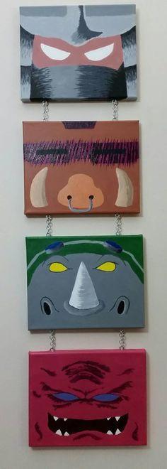 tmnt villains, shredder, bebop, rocksteady, krang, acryllic, painting, canvas, teenage mutant ninja turtles