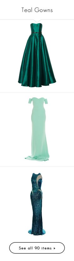 """Teal Gowns"" by srta-sr ❤ liked on Polyvore featuring smrgowns, dresses, gowns, long dress, emerald, long green dress, pleated dress, fitted gowns, loose dresses and long dresses"