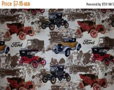 Check out Gorgeous VIntage Ford Fabric--Great for Quilting--Shirts n more--HARD Find--40-70% off Patterns n Books SALE on altcollect