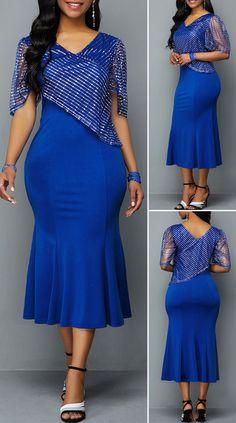 Half Sleeve V Neck Frill Hem Dress – Christmas Fashion Trends African Maxi Dresses, Sexy Dresses, Cute Dresses, Short Dresses, Fashion Dresses, Curvy Outfits, Plus Size Outfits, Outfits Dress, Curvy Fashion