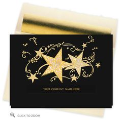 Starburst Greetings Die-cut Greeting Card - Business Christmas Cards. Embossed gold stars and swirls dance across the velvety black background of Starburst Greetings, calling attention to your company name, imprinted in gold foil and showing through the die cut opening on the front of this exciting holiday greeting card design. This card is made of dark paper; therefore greeting and personalized imprint available in gold foil only.. Price: $60.06
