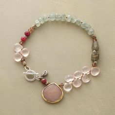 "GARDEN STROLL BRACELET�--�Like wandering a garden in bloom, our bracelet of rose quartz, moss aquamarine, peach moonstone, labradorite and ruby offers delight at every turn. 14kt goldplated bezel. Sterling silver toggle. Exclusive. Approx. 7-1/2""L. From the sundance catalog."
