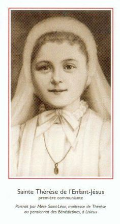 After Saint Therese received her First Holy Communion she wept for joy! The other girls didn't know why she was crying and thought it was perhaps because she had lost her mother. Therese's sister Celine sketched painted this image of her holy little sister.