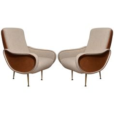 Mid-Century Italian Armchairs with Saddle Calfskin in the Style of Marco Zanuso