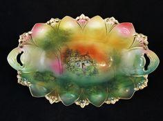 Antique RS Prussia 13 Cottage Colorful Bun Bowl Scenic   eBay