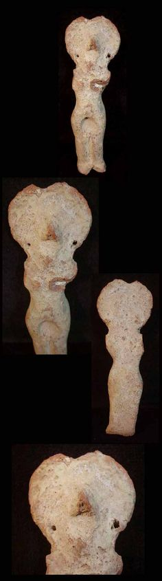 A rare predynastic terracotta fertility figure.  Flat-backed form, portrayed with radiating circular headdress; the face with small, projecting nose but without eyes or mouth delineated; the vulva is accentuated by a deeply impressed recess. The tiny perforations on either side of the head suggest that the figure would originally have been decorated with suspended attachments of some kind, representing ear ornaments. Egypt, 3th millenium.
