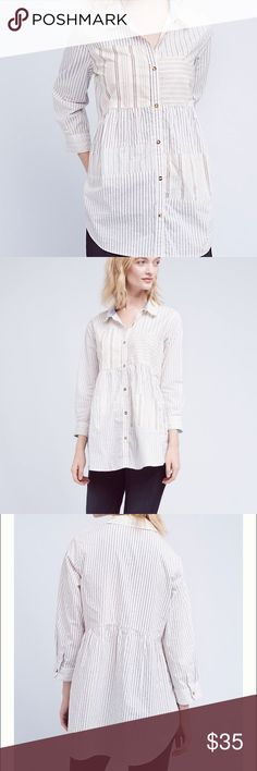 🌟NEW🌟 Anthropologie Patchwork Poplin Buttondown Brand New With tags, Cotton Empire waist silhouette Button front Machine wash Imported Anthropologie Tops Button Down Shirts