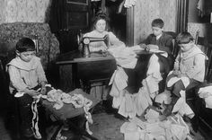 It's About Time: Labor Day - Women & children working at home in early 1900s America by Photographer Lewis Wickes Hine 1874-1940