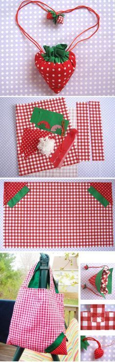 DIY Strawberry Shopper Bag Sewing Tutorial | If you love to make bags, check out http://www.sewinlove.com.au/tag/bags/ for more fun and easy sewing projects.