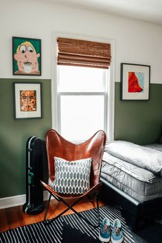 Teenager Boys Room Makeover- Grown-Up Style - Nesting With Grace Teenager Boys Back to School Ready Bedroom Green Boys Room, Green Rooms, Bedroom Green, Boys Room Decor, Home Decor Bedroom, Boys Bedroom Paint, Room Boys, Childs Bedroom, Child Room
