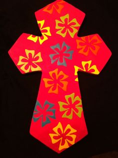 Hand Painted floral cross