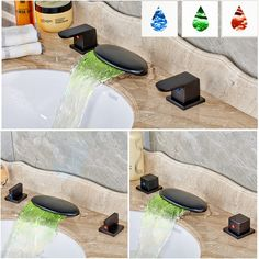76.86$  Watch now - http://ali75b.worldwells.pw/go.php?t=32706550949 - Color Changing Widespread Waterfall Deck Mounted Basin Water Faucet Dual Handle Bathroom Tub Mixer Taps