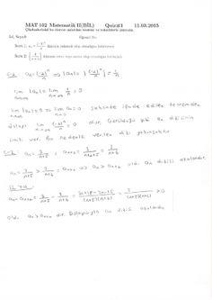 Matematik -2 Quiz soruları ve Çözümleri - Bil. Müh.