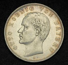 German Empire, Bavaria 5 Mark Silver Coin of 1907, King Otto. Obverse: Head of…