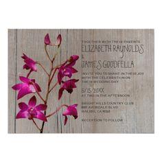 Rustic Dendrobium Orchid Wedding Invitations