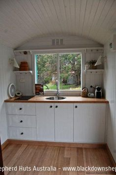 An amazing kitchen. I could have a butane burner and an electric kettle for warm days.