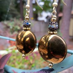 Fancy Metal and Rhinestone Drop Earrings Round by fivedollarears