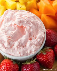 Light and fluffy Fruit Dip that's easy to make and made with three simple ingredients including cream cheese and marshmallow creme! Perfect with any variety of fruits!