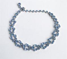 Vintage Blue Crystal necklace. Fenichel by JewelryOnVintageLane
