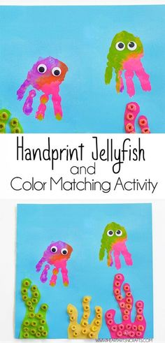 Handprint Jellyfish and Color Matching Activity - I Heart Arts n Crafts Handprint Jellyfish and Color Matching Activity Should you appreciate arts and crafts you actually will enjoy this website! Ocean Crafts, Baby Crafts, Fun Crafts, Crafts For Kids, Arts And Crafts, Simple Crafts, Color Activities, Craft Activities, Toddler Activities